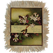 1884 Louis Prang Silk Fringe Christmas Card Chromolithograph Floral Fringed