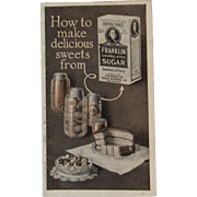 1915 Franklin Sugar Recipe Booklet Pamphlet Cookbook Cook Book Edwardian Advertising