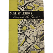 1938 Sunkist Lemons Recipe Booklet Fruit Advertising Cookbook