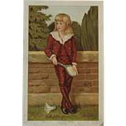 Marcus Ward Christmas Card Victorian Chromolithograph Boy Playing Badminton