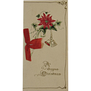 German Embossed Christmas Booklet Card Germany Poinsettia and Bells with Red Ribbon