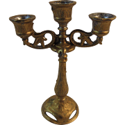 Gothic 3 Lite Candelabra Cast Metal Gold Wash Dollhouse Miniature