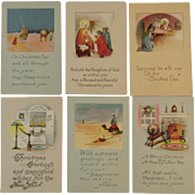 6 Unused Christmas Cards Nativity and Home Scenes