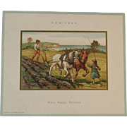Marcus Ward New Years Card Victorian Farm Scene Many Happy Returns