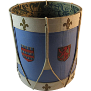 Vintage French Heraldic Drum Planter Container Shabby Chic Decor France