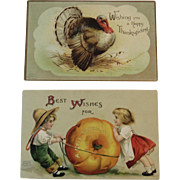 2 Embossed German Thanksgiving Postcards by International Art Publishing Co c 1907 1908