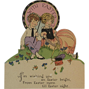 Mechanical Easter Card Art Deco Couple Scene