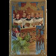 1912 Santa Reindeer and Choir Embossed Christmas Postcard