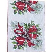 Vintage Linen Christmas Holly Pinecone & Ribbons Table Runner