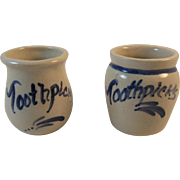 Casey Pottery Blue Decorated Mini Toothpick Crocks Holders Marshall Texas