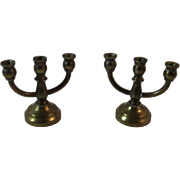 Brass Dollhouse Miniature Candelabras Candlesticks Candle Holders Three Lite