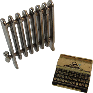 Dollhouse Miniature Radiator and Typewriter Cast Metal