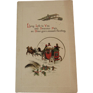 Raphael Tuck & Sons Biplane and Royal Mail Coach Christmas Card