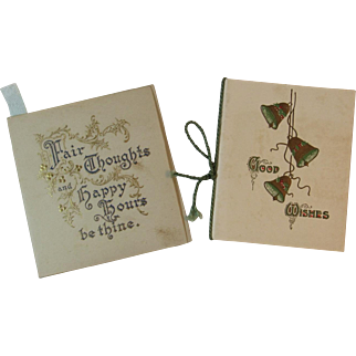 2 Victorian Christmas Booklet Cards Embossed Covers