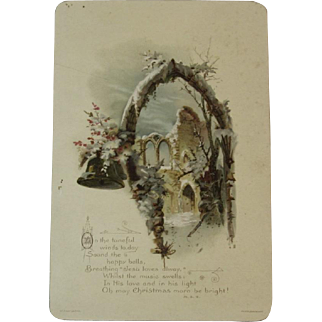 W. Hagelberg Victorian Christmas Card with Winter Castle Scene