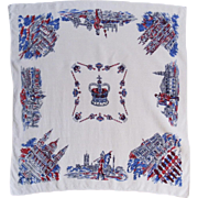 London Scenes Linen Tablecloth Vintage Luncheon or Card Table Cloth Size