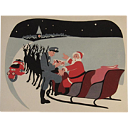 Jane Jarvis Hand Screened Christmas Card Santa Getting a Ticket from Policeman Studio Card MCM Mid Century Modern