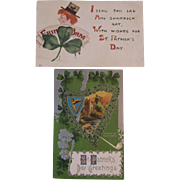 2 St. Patrick's Day Postcards F.A. Owen Leprechaun and Embossed Castle Scene