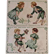 2 St. Patrick's Day Postcards Embossed Dancing Children Series 14 Early 1900s
