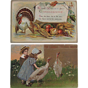 2 Embossed Thanksgiving Postcards One German c 1908 Turkeys and Children Autumn Colors