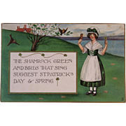 1920 Tuck's St. Patrick's Day Postcard Raphael Tuck & Sons German Saxony Girl and Birds