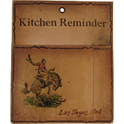 Cowboy Kitchen Reminder Leather Pad and Pencil Pen Holder form Las Vegas Nevada Western