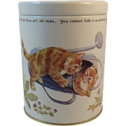 Cats in Watering Can and Basket Tin England English Kittens Kitty Kitties