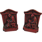 Red Monk in Library Cast Metal Bookends Book Ends