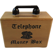 Telephone Money Box Bank Wood Marked Foreign
