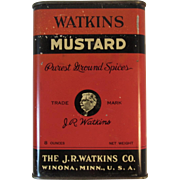 JR Watkins Mustard Spice Tin Winona Minnesota 8 ounce Size Red Vintage Kitchen
