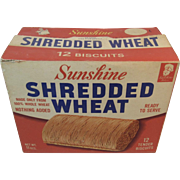 Sunshine Biscuit Shredded Wheat Box 1940s Vintage Kitchen