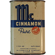 McCormick Bee Brand Cinnamon Spice Tin Vintage Kitchen