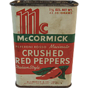 McCormick Crushed Red Peppers Italian Style Spice Tin Genuine Bee Brand Vintage Kitchen