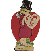 Large Die Cut Cupid Valentine with Envelope Never Used Diecut Large Red Heart