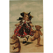M. Greiner Embossed Bears German Postcard with Molly from International Art Publishing Co Printed in Germany Teddy Bear