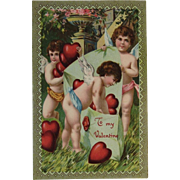 ECC German Cherubs Valentine Postcard E.C.C. Series