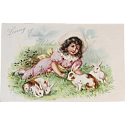 1908 Tuck's Embossed Easter Postcard Girl and Bunnies Bunny Raphael Tuck & Sons