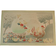 Embossed Easter Postcard Rooster Pulling Egg Cart with Chicks