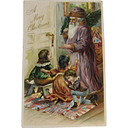 1906 Purple Robe Santa Embossed Postcard with Children and Bag of Toys Antique Christmas