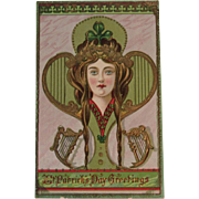Art Nouveau St. Patrick's Day Postcard German Printed in Saxony Embossed