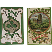 2 Embossed St. Patrick's Day Postcards One German c 1908