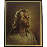 1941 Religious Jesus Print by Warner Sallman & Kriebel & Bates Litho on Wood