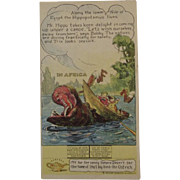 Pryor's Golden Crust Bread Trade Card Dotty, Bob and Trix Series with Hippo in Africa