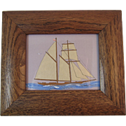 Topsail Schooner Hand Cut Paper Silhouette with Painting by Alison Busby Shriver