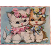 1950s Coby Embossed Oversized Kittens Cats Get Well Card Unused with Envelope Kitty