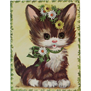 1950s Coby Embossed Oversized Kitten Cat Birthday Card Unused with Envelope Kitty