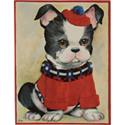 1950s Coby Embossed Oversized Bulldog Puppy Dog Birthday Card Unused with Envelope