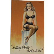 1940s Pin Up Girl Postcard Unused Tichnor Views Pin-Up Risque