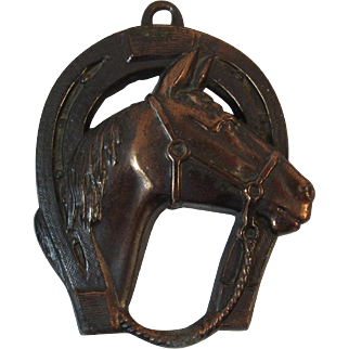 Horse Head and Shoe Cast Metal Good Luck Wall Hanging Equestrian Decor Horseshoe