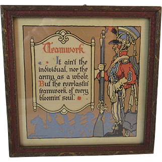 Art Deco Motto Print Military Teamwork Poem with English Soldier in Gesso Frame A Gibson Product